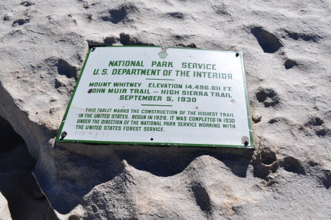 A sign bolted to the summit. Elevation technology has gotten more accurate and the most recent summit elevation is either 14,508 or 14,505 depending on who you ask