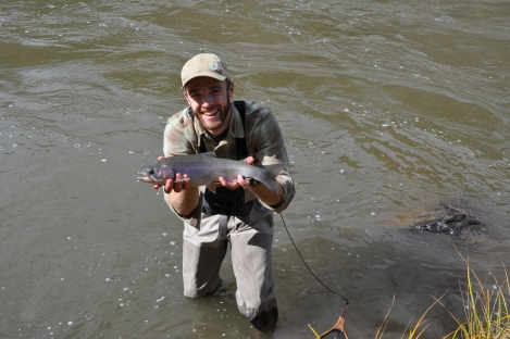 A rainbow trout out of the Rio Grande near the confluence with the Red River (Poundmeister)